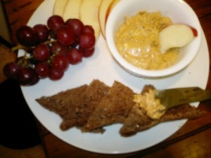 chia seed and peanut butter spread with rye bread and apple